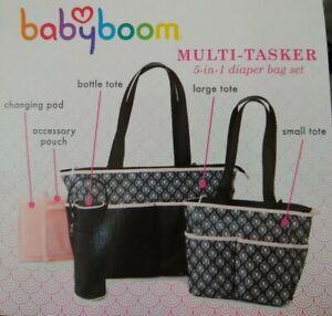 624b9ae844 New Baby Boom Diaper Bag 5pc Set Pink Multi-tasker 5in1 Bag set Tote ...