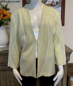 Details about Ming Wang Women Open Front Cardigan Sweater 34Sleeve Light Green Sz L Beautiful