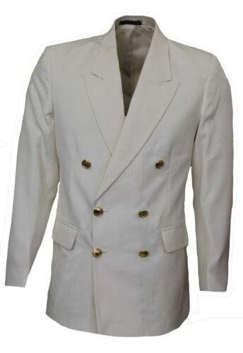 Mens Reefer Jacket Cream classic 6 button made in england from uk fabric