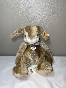 "Steiff Hoppi Bunny Rabbit Brown Beige 15"" Stuffed Animal Toy Plush W Ear Tag NEW"