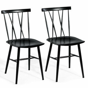 Set of 2 Dining Side Chairs Tolix Chairs Armless Cross ...
