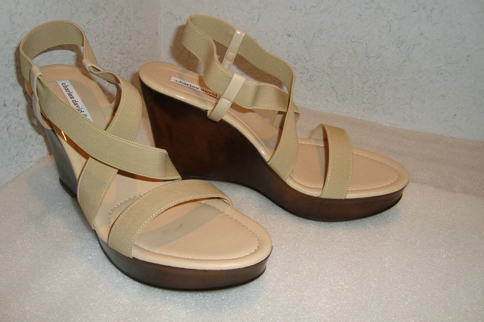 Charles David Womens NWOB Camel Stretch Wedge Sandals shoes 10 MED NEW