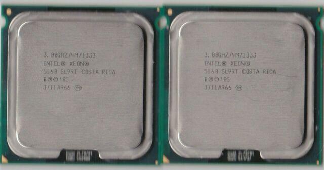 LOT OF 2 MATCHING SLABS INTEL XEON 5160 SL9RT 3GHZ 4M 1333 DUAL CORE CPU