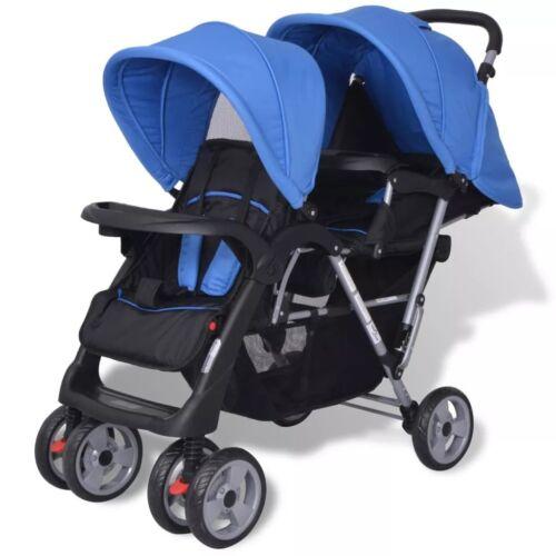 Geschwisterwagen Kinderwagen Zwillingswagen Babywagen für 2 Kinder Blau klappbar