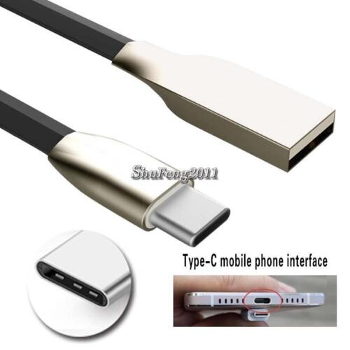 BLACK TYPE C USB Data Sync Charger Alloy Cable FOR AT/&T Trek 2 HD 6461A K88 8/""