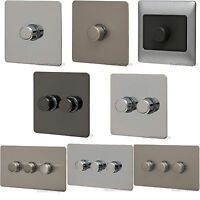 Dimmer Switch Chrome Single Double Triple 1 3 Gang 2 Way Push On Off Flat Plate