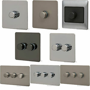 dimmer switch chrome single double triple 1 3 gang 2 way push on off flat plate ebay. Black Bedroom Furniture Sets. Home Design Ideas