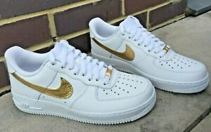 Nike Air Force 1 Custom Design 24k Gold Leaf Nike Tick Lace