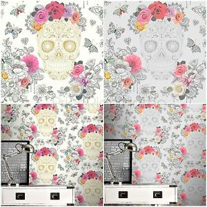 Details About Rasch Sugar Skulls Wallpaper Grey Silver 278033 And Cream Gold 278026