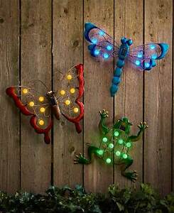Wonderful Image Is Loading SOLAR POWERED GARDEN WALL ART LIGHT UP HANG