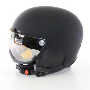 VISIER SKIHELM Schwarz M 55 - 59 cm Helm S2 Visierhelm verspiegelt Klappvisier