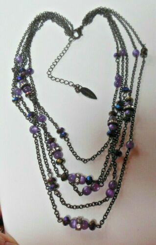 Coldwater Creek Multi-strand Purple Bead Chain Nec