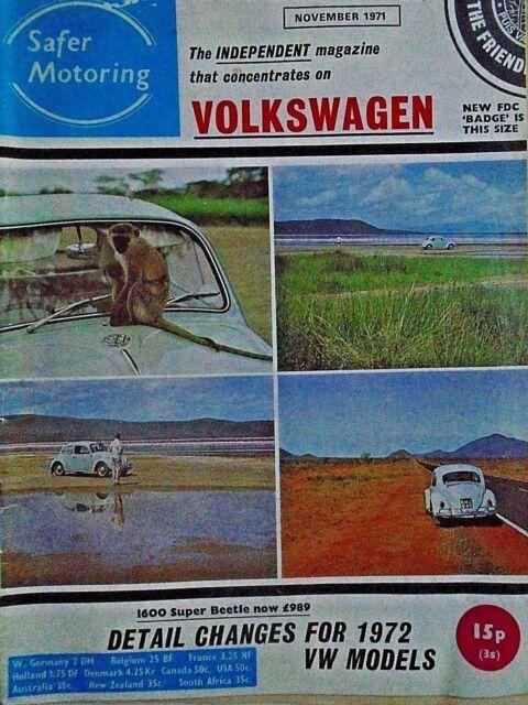 VW Volkswagen Safer Motoring novembre 1971 Coccinelle 1600, NSU 1200, VW Diagnostic