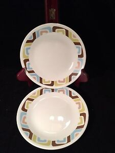 Image is loading 2-Corelle-Squared-Pattern-Bread-Salad-Plates-6- & 2 Corelle Squared Pattern Bread Salad Plates 6 3/4