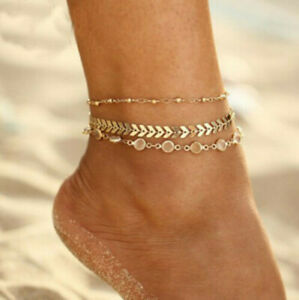 3PCS-SET-Arrow-Ankle-Bracelet-Women-Anklet-Adjustable-Chain-Foot-Beach-Jewelry