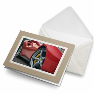 Greetings-Card-Biege-Awesome-Red-Sports-Car-Vehicle-Speed-8783