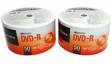100 SONY Blank DVD-R DVDR Recordable Logo Branded 16X 4.7GB 120min Media Disc