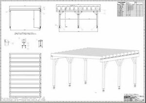 bauplan anleitung flachdach carport terrassendach wintergarten berdachung v2 ebay. Black Bedroom Furniture Sets. Home Design Ideas