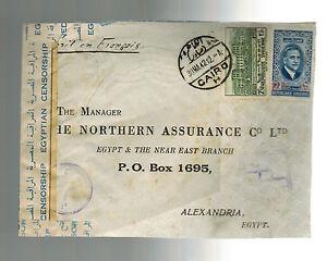1942 Damascus Syria Censored Cover to Alexandria Egypt Elias Gannage