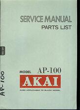 Original Factory Akai AP 100 Turntable Record Player Service Manual Parts List