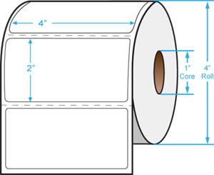 """Details about  /4x2 Direct Thermal 715 Labels//Roll Zebra Compatible Perforated EDT4020AP 4/"""" x 2/"""""""