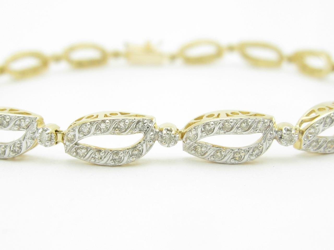 14kt Yellow gold & Diamonds Pave Link Halo Design 8  Bridal Tennis Bracelet Gift