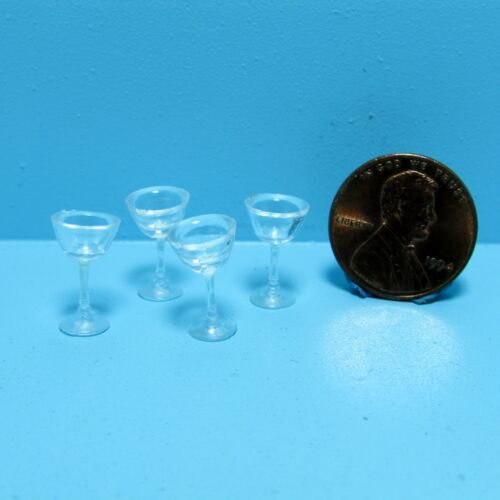 Dollhouse Miniature Palstic Martini Glassware Drinking Glasses Set of 4 FA40325
