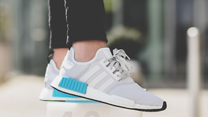 """ee160dc85ebea Adidas NMD R1 """"White Blue Cyan"""" Men s Trainer"""