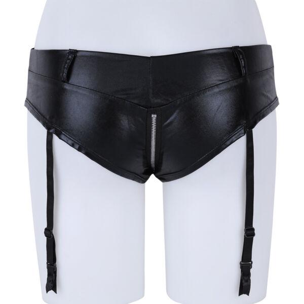 Damen Leder Hotpants Unterwäsche mit Strumpfbänder und Reißverschluss Schwarz