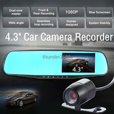 "4.3"" Dual Lens Full HD Night Vision Car Driving Camera Recorder Tachograph 12V"