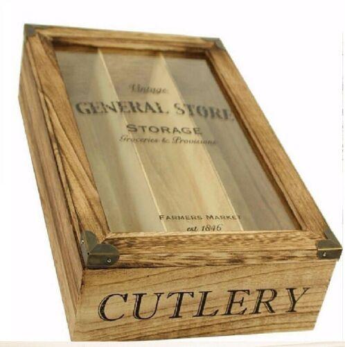 Vintage 3 Compartiment Couverts Boîte Plateau De Stockage Organisateur rustique en bois naturel