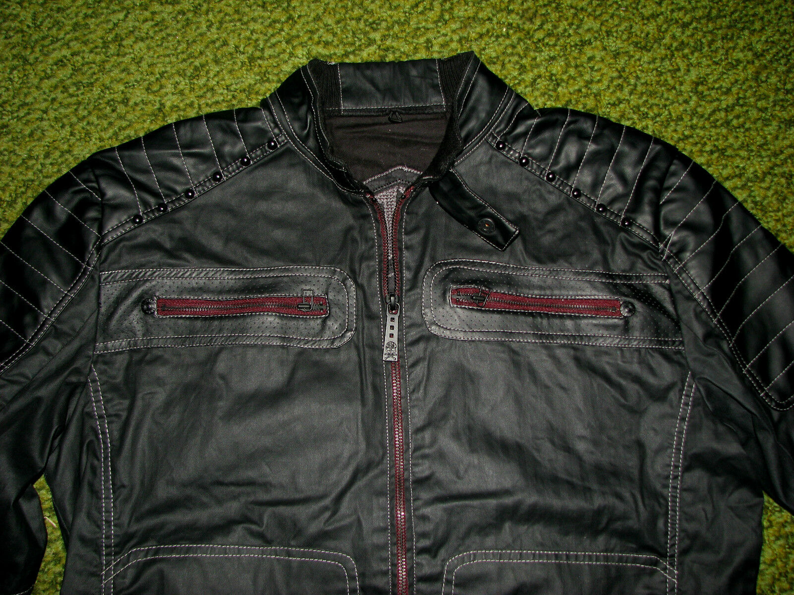 "$188 (M) AFFLICTION ""HALF MEASURE"" 3 in 1 Moto JACKET/ COAT/ HOODED VEST"