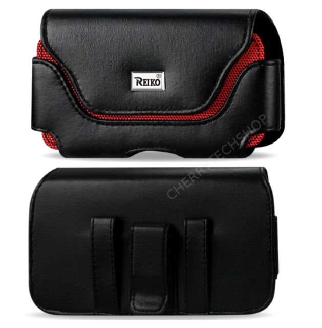 REIKO Black/Red Leather Clip Case Holster for Phones FITS WITH Otterbox Defender