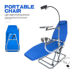 Greeloy Dental Portable Folding Chair With Cuspidor Tray Led Operation Light Blue
