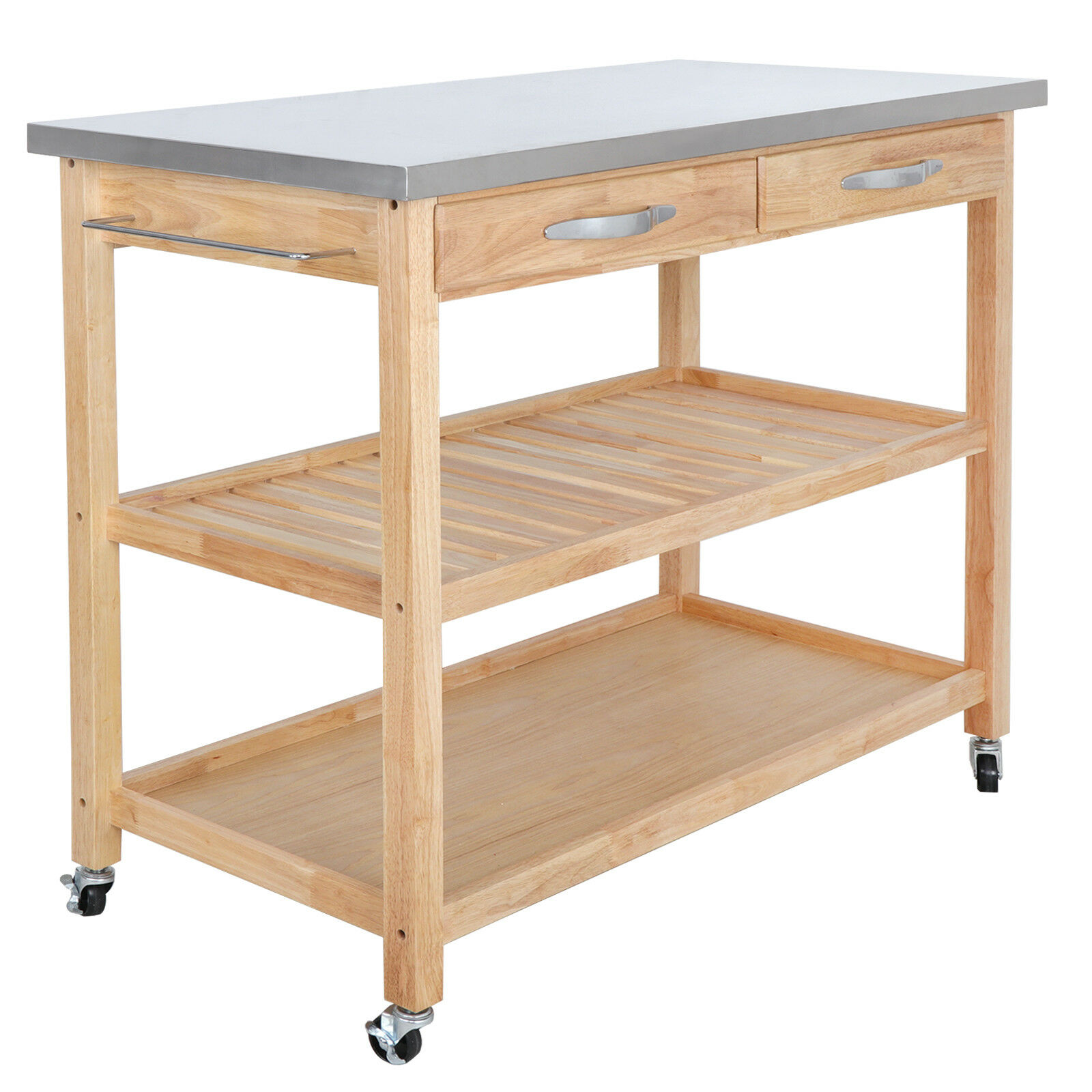 Large Size Kitchen Trolley Cart Wood Rolling Island Serving Utility Cabinet Cart