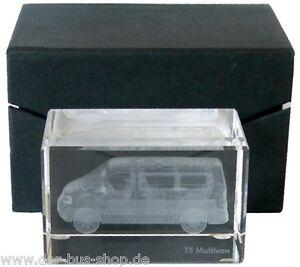 VW-Bus-T5-Multivan-Briefbeschwerer-Glasblock-im-Laser-Innengravur