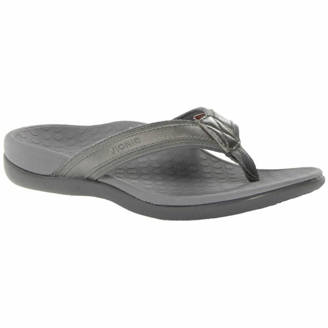 c9f4450a7326 Vionic IN44 Islander Pewter Metallic Womens Leather Orthotic Toe-Post  Sandals