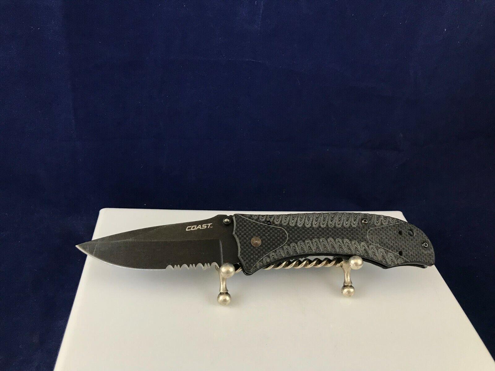 Coast all black combo edge blade folding linerlock pocket knife with belt clip