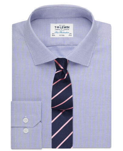 T.M.Lewin   Fitted Navy Textured Oxford Shirt