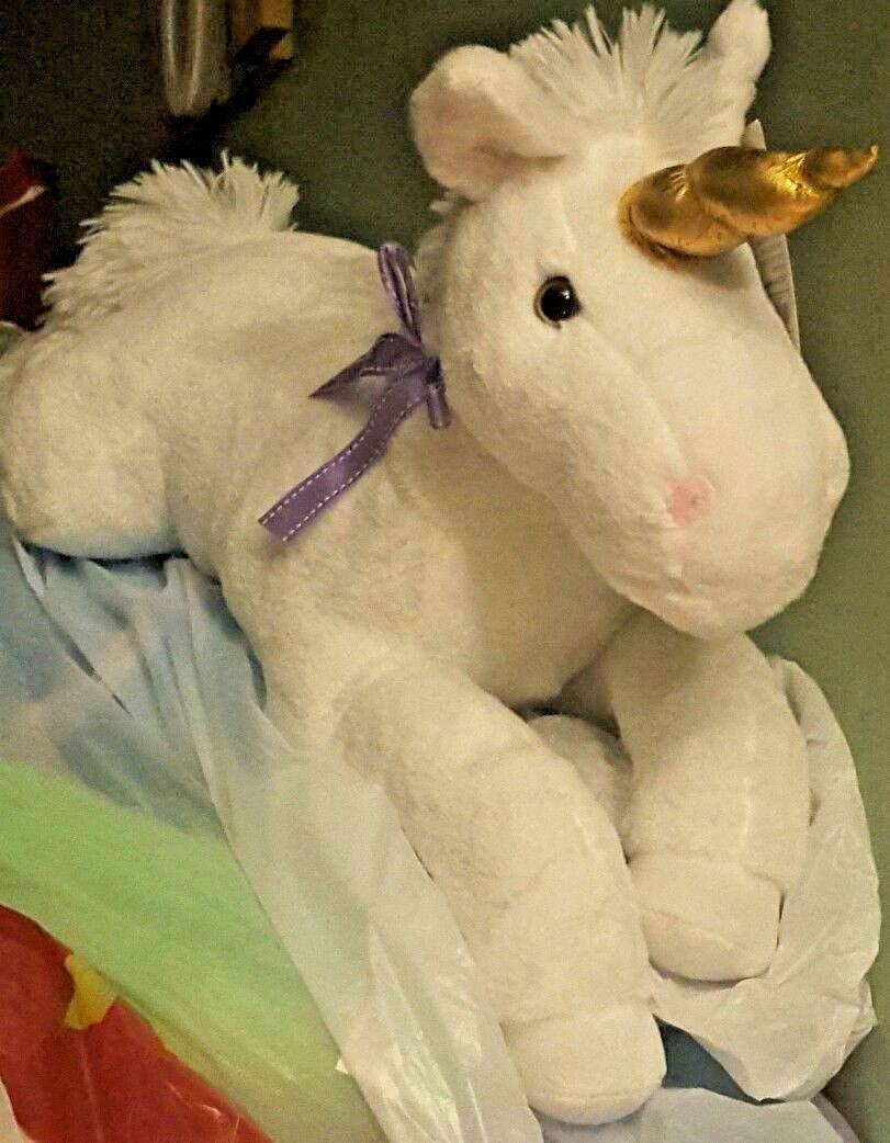 Large White UNICORN Plush Toy Toy Stuffed Animal Doll Pillow NWT LOW WORLD SHIPPING
