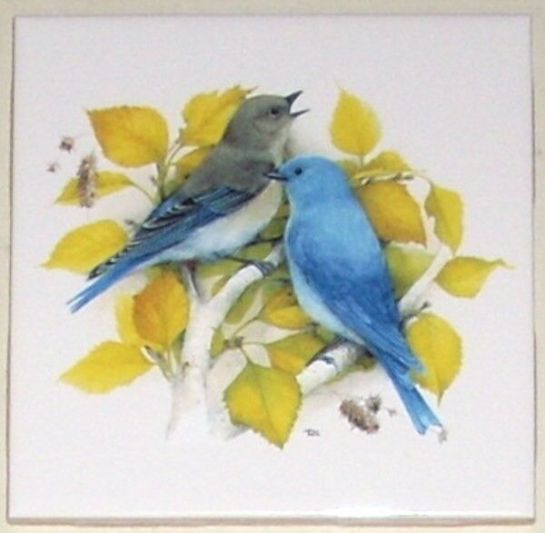 "Pretty Blue Birds Bird Yellow Leaves 4.25"" x 4.25"" Kiln Fired Decor Mottles"