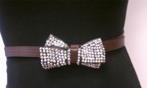 Brown Skinny Elegant Woman Design Belt With Double Rhinestones Ribbon