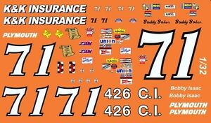 #71 Bobby Isaac K&K Insurance 1/24th Scale  Waterslide Decals