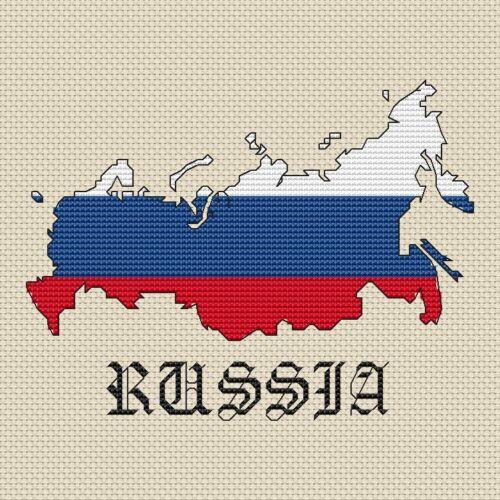 "15x15cm, 6x6/"", kit or chart, 14hpi Russia Map /& Flag Cross Stitch Design"