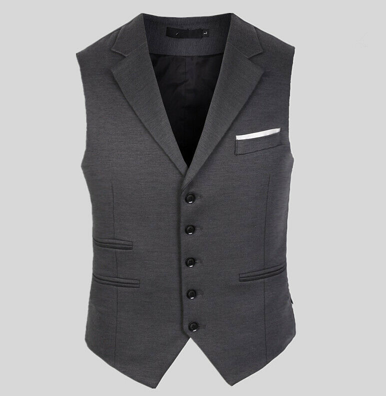 Mens Slim Fit Blazers Collar Tops Business Dress Formal Waistcoat Wedding Vest