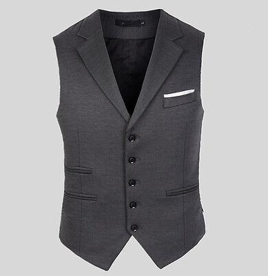 Mens Slim Fit Blazers Collar Tops Business Dress Formal Waistcoat Wedding Vest