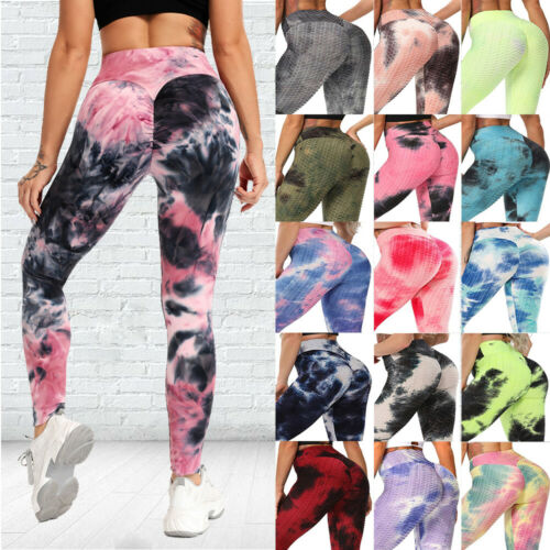 Details about  /Womens Tie Dyed Yoga Pants Butt Lift Yoga Leggings Workout Fitness Trousers GYM