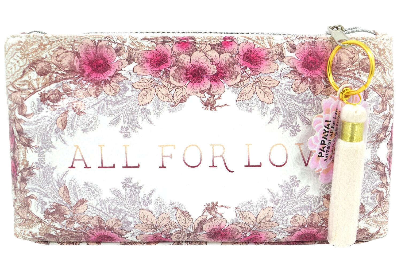 Papaya Art All For Love Pink Floral Art Small Make-up Bag Travel Clutch Bag