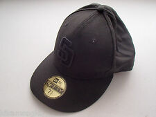 San Diego Padres MLB New Era 59Fifty Fitted Cap, All Black, 7 5/8