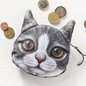Münzen Tasche Katze Braune Augen 3d Effekt Modell 3 Geldbeutel Ebay